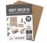 ABSOFINE 60 Blätter Kraftpapier DIN A4 Kraftkarton 260g/m² Qualität Naturkarton in Hochwertiger Qualität Kraftkarte Recycelt