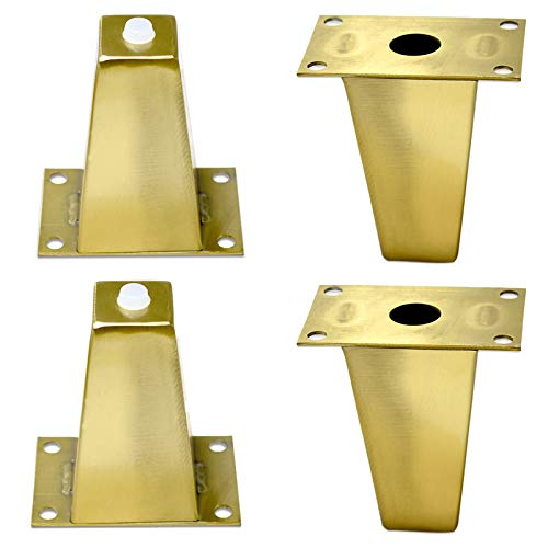 JWZQ Patas de muebles de acero inoxidable 4 juegos Accesorios de hardware para muebles cuadrados dorados Patas de gabinete de metal Patas de cama Patas de sofá Patas de mesa de café (dorado 100 mm)