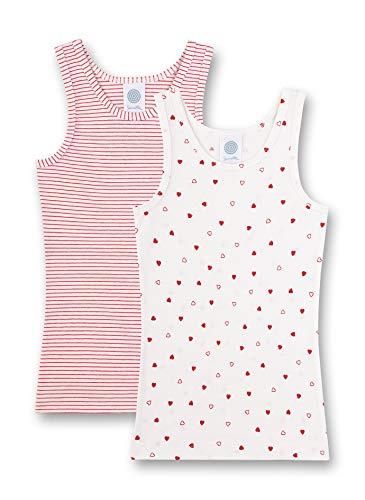 Sanetta Mädchen Doppelpack Unterhemd, Beige (Broken White 1427), (Herstellergröße: 140) (2er Pack)