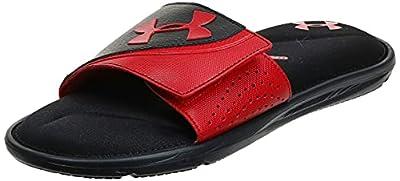 Under Armour Men's Ignite VI SL Slide Sandal, Black (001)/Red, 10 M US