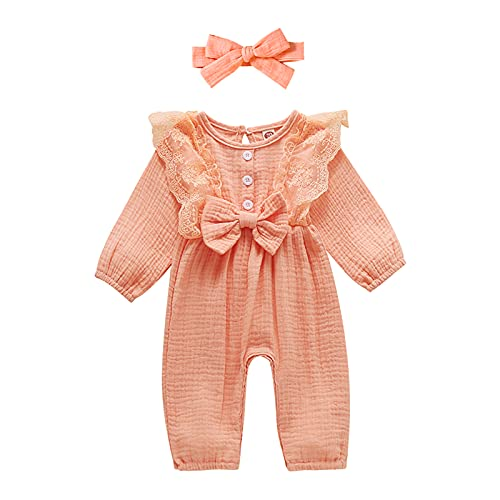 Kids Clothing Deals Turquoise Baby Girl Clothes 12-18 Months Ruffle Romper Linen Jumpsuits Fall Bodysuit Baby Girl