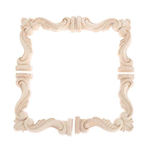 Vintage in legno intagliato Decal Corner Onlay cornice applique da parete non verniciata di mobili per casa armadio porta Decor Craft 4pcs
