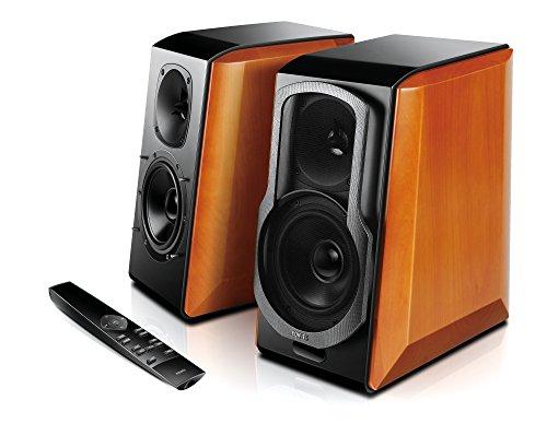 Edifier S2000PRO Aktives 2.0 Regallautsprechersystem mit Bluetooth (aptX), Digital und Analogeingängen sowie Balanced-Eingang (symmetrisch), Fernbedienung 124W schwarz/holz