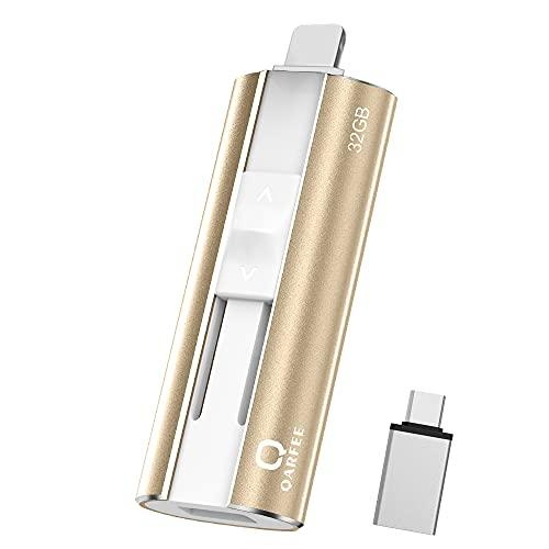 QARFEE Chiavetta USB Compatibile con iPhone Memoria USB 32GB USB 3.0 4 in 1 Pen Drive Compatibile con iPhone Android Smartphone Tablet PC Tipo C Porta (32GB, Oro)