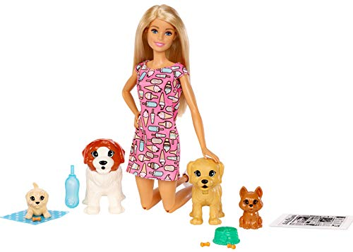 Barbie Doggy Daycare Doll, Blonde, and Pets Playset with 4 Dogs, Including One Puppy that Poops and One that Pees, Plus Color-Change Paper and More, Gift for 3 to 7 Year Olds