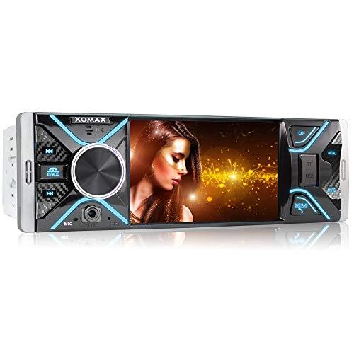 XOMAX XM-V417 Radio de Coche con Pantalla de 4.1' / 10 cm I Bluetooth | USB, SD, AUX | RDS | Conexiones para cámara de Marcha atrás y Mando a Distancia del Volante I 7 Colores de iluminación | 1 DIN