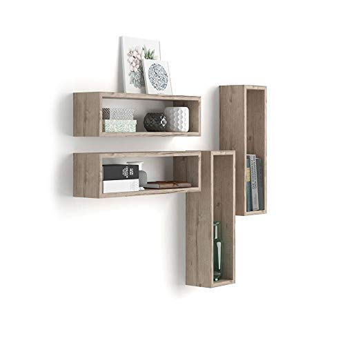 Mobili Fiver, Set de 4 estantes en Forma de Cubo, Modelo Iacopo, de MDF, Color encina, 59 x 14,5 x 17 cm