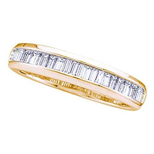 Jewels By Lux Anillo de Diamantes Baguette de Oro Amarillo de 14 KT para Mujeres 7
