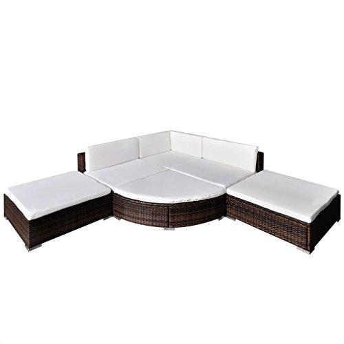 Nishore Rattan Lounge Set Polyrattan Loungemöbel Loungeset Loungegruppe aus PE-Rattan 16-teilig 695 x 695 x 525 mm (L x B x H)