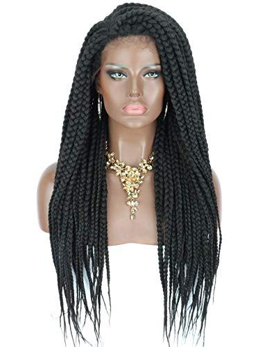 Kalyss Senegal Damenperücke, geflochtene Zöpfe, Spitzenfront, mit Babyhaaren, hochwertig, synthetisch, schwarze Farbe, Box Zöpfe, natürlich aussehende Seitenscheitel, Spitzenperücke, Schwarz 1B