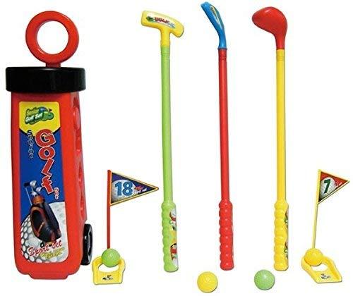 Powco Golf Set Mini rot für Kinder mit Caddie Schläger 4 Bälle Kindergolf Minigolf
