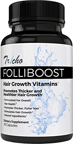 Tricho: Folliboost Hair Growth Vitamins - 30 Day Supply - Promotes Thicker & Healthier Hair Growth - Natural Formula Made in The USA - Best Results When Paired with Folliboost Serum