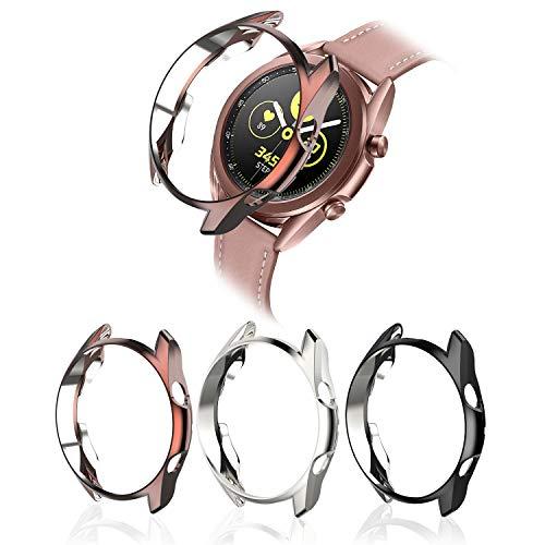 MJRom Kompatibel mit Samsung Galaxy Watch 3 Hülle 45mm, Soft Stoßdämpfergehäuse Abdeckung Stoßstangenschutz Zubehör (45mm, Schwarz+Silber+Roségold)
