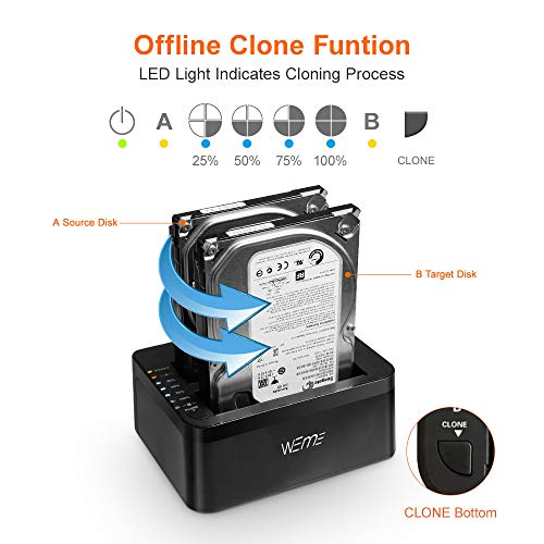 WEme USB 3.0 to SATA Dual-Bay External Hard Drive Docking Station with Offline Clone/Duplicator Function for 2.5