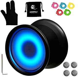 MAGICYOYO Y02-Aurora Light Up Professional Unresponsive Yoyo with Led Lights with Yoyo Glove, Yoyo Holster, 5 Replacement Strings, Blue LED Light