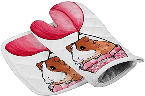 Fashion Happy Camper Camping Oven Mitt and Pot Holder, Heat Resistant Hot Plate Moving Non-Slip Kitchen Glove and Potholder for Cooking,Baking,g-Guinea Pigs Balloon-One Size Glove size 16.5x27.5cm
