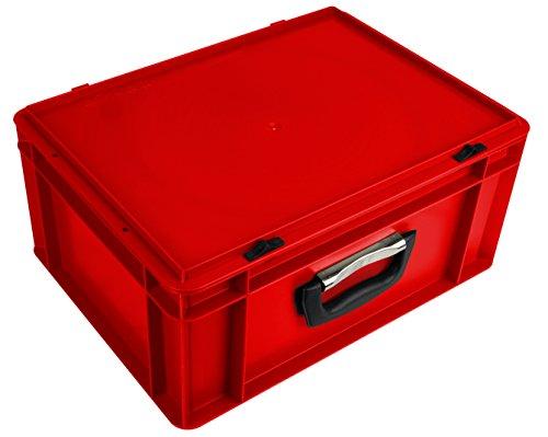 Euro-Stapelkoffer EKO-4175, stapelbar, Kasten: rot, Deckel: rot, mit Koffergriff, Außenmaße 400x300x186 mm (LxBxH), 15 Liter Nutzvolumen