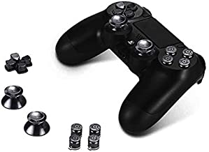 For Playstation 4 PS4 Controller - Coverking Aluminium Buttons Hats Thumbsticks Spare Parts - Black
