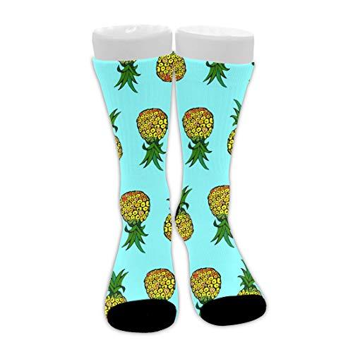 Bingyingne Tropical Sunshine Pineapple Blue Unisex Calcetines de compresión de tobillo alto suaves Calcetines de tripulación de cojín transpirable