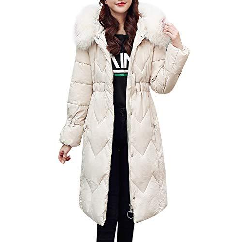 SEWORLD Damen Winterjacke Wintermantel Lange Daunenjacke Jacke Outwear Frauen Winter Warm Daunenmantel Solide Lässig Dicker Winter Slim Down Lammy Jacke Mantel(Weiß,40 DE/M CN)…