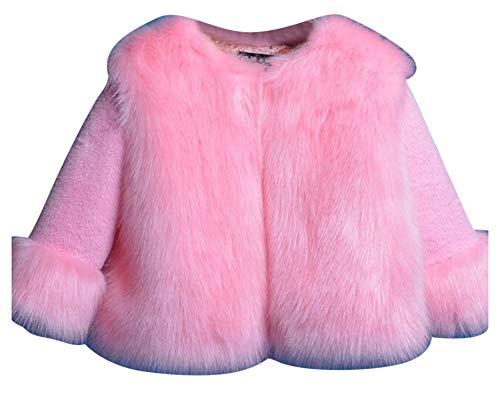 Mädchen Pelzjacke Jacke Kinder Langarm Mädchenmantel Winterjacke Pelzmantel Pink 140