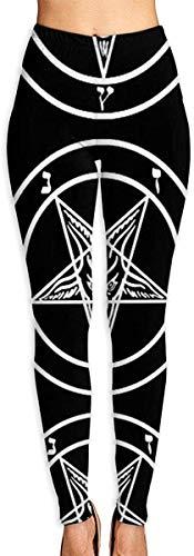 MODORSAN Storm Goat Pentagram Satanic Logo Leggings Estampados en 3D para Mujer Entrenamiento de Yoga Suave Running Biker Mallas elásticas Leggings con Estampado Suave-S