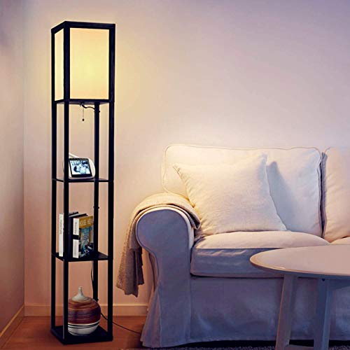 Albrillo Lámpara de pie retro con estante de madera, lámpara de pie de diseño con casquillo E27, lámpara de pie de 160 cm con 3 compartimentos y pinza de alambre, carga total de 7,25 kg