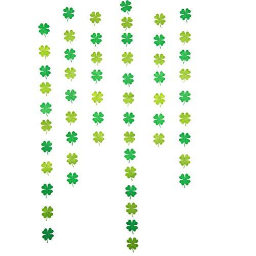 Amosfun Guirnalda de trébol de cuatro hojas para decoración del día de San Patricio, decoración de pared, decoración de fiesta (vertical)