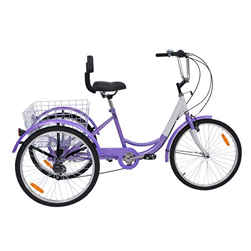 Slsy Adult Tricycles 7 Speed, 3 -Wheeled Bicycles 24 inch