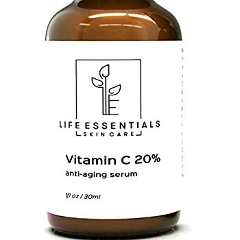 Life Essentials 20% Vitamin C Serum for Face with Hyaluronic Acid - 1 Fl Oz - Organic Anti Aging Face Serum For Youthful Glowing Skin - Fades Dark Spots Wrinkles and Acne Scars