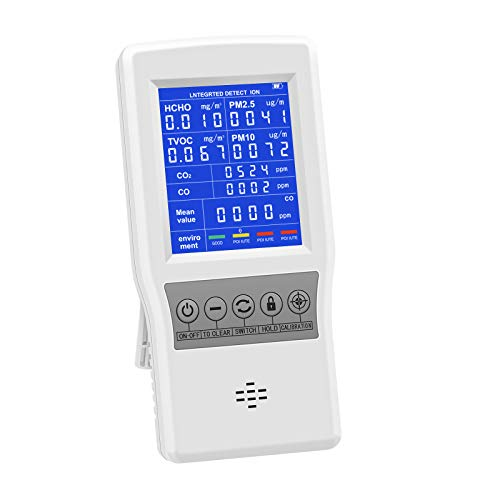 HYVQDNM Air Quality Monitor Indoor for CO2 CO Formaldehyde(HCHO) TVOC PM2.5/PM10 Multifunction Air Quality Detector Real Time Data&Mean Value Recording Air Gas Detector for Home Office Car School etc