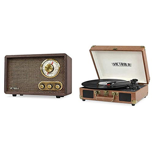 Victrola Retro Wood Bluetooth FM/AM Radio with Rotary Dial, Espresso & Vintage 3-Speed Bluetooth Portable Suitcase Record Player with Built-in Speakers | Upgraded Turntable Audio Sound