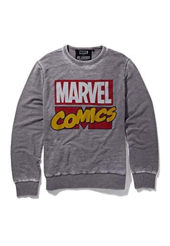 Recovered Marvel Comics Classic Retro Logo Mid Grey Sudadera