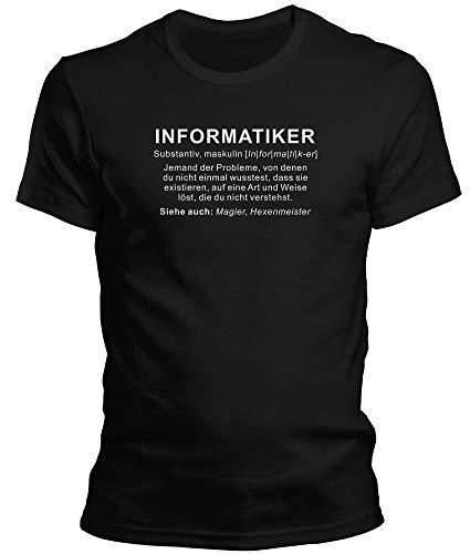 DragonHive Herren Fun T-Shirt Informatiker Wikipedia Job Beschreibung, Größe:M, Farbe:Schwarz