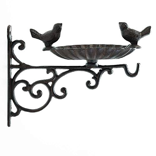 Sungmor Heavy Duty Cast Iron Bird Feeder with Hanging Bracket - Wall Mounted Bird Bath - Vintage & Lovely Birds Hanger Wall Hook for Planters, Lanterns, Wind Chimes and More Garden Decorative Items