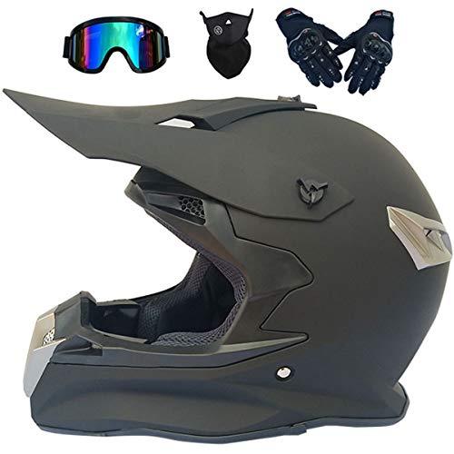 LCRAKON Casco Motocross Niño, Dot Homologado MJH-02 Mate Negro Casco de Moto para Infantil y Adulto, Cascos de Cross de Moto de Integrales Enduro Set (4 Piezas) con Gafas Downhill/Guantes/Máscara