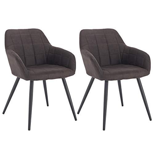WOLTU® Esszimmerstühle BH224dbr-2 2er Set Küchenstuhl Polsterstuhl Wohnzimmerstuhl Sessel mit Armlehne, Sitzfläche aus Stoffbezug, Metallbeine, Dunkelbraun