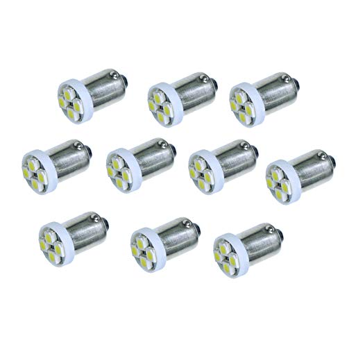 PA 10PCS #1893 #44 #47 #756 #1847 BA9S 4SMD LED Wedge Pinball Machine Light Bulb Green-6.3V