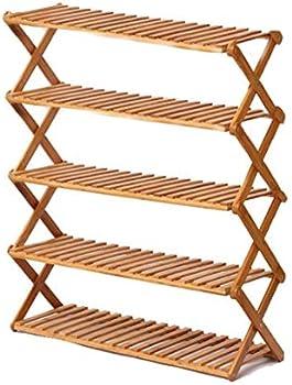Rakumi 5-Tier Free Standing Foldable Bamboo Shoe Rack