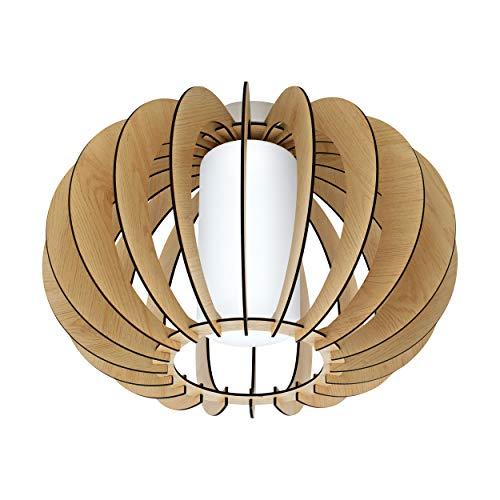 Eglo Stellato 1 Plafonnier vintage 1 ampoule en acier, bois et verre en nickel mat, érable, blanc, lampe de cuisine, couloir avec douille E27