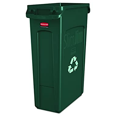Rubbermaid Commercial Products Slim Jim Recycling Container with Venting Channels, Plastic, 23 Gallons, Green (FG354007GRN)