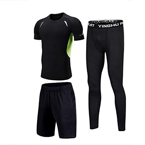 Mens Gym Laufkleidung Sport Running Wear Shorts atmungsaktiv und schnell trocknend Schwarz und Grün Stitching 3-teiliges Set Schnelltrocknendes Sport-T-Shirt (Farbe : Black, Size : 3XL)
