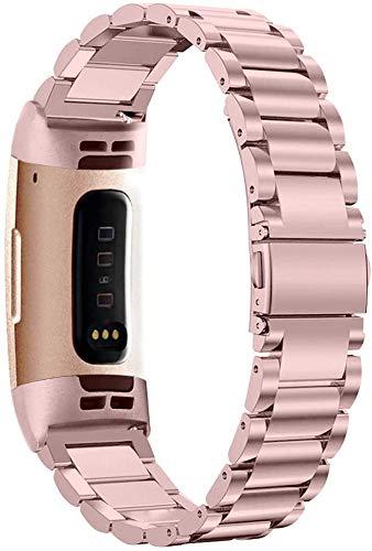 YQSBYI Correa de Metal Smart Reloj Correa Pulsera Compatible Acero Inoxidable Reemplazo Correa de muñeca (Band Color : Rose Powder)