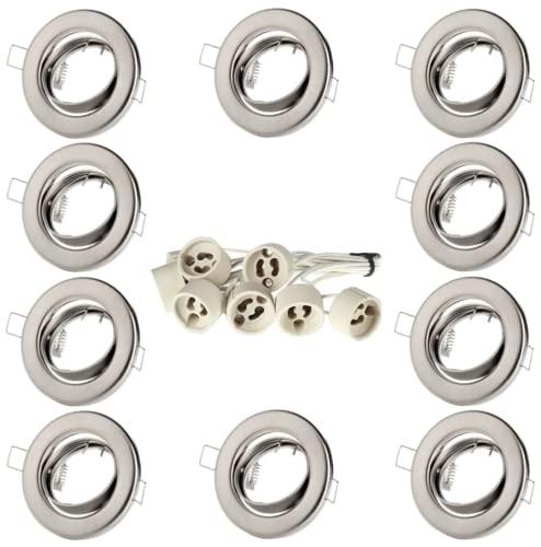 Sweet Led Lot de 10 spots encastrables pour halogène et LED GU10 orientables, ronds, chromés brossés, avec douille GU10