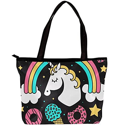 LORVIES - Bolso bandolera para mujer con diseño de unicornio, color crema