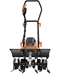 Adjustable TillIng Width - Electric tiller can be quickly switched from 6 tInes to 4 tInes without tools, workIng width from 18 Inches to 12.5 Inches, which can meet your different work needs. Attention : When usIng the tiller, it should be dragged b...