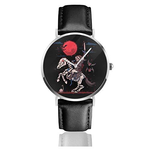 Unisex Business Casual Der rote Mond steigt Halloween Legende von Zelda Uhren Quarz Lederuhr