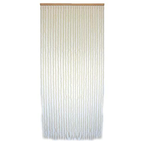 Cortina para Puerta de Bambú y Sisal Natural, de Aros Color Beige. Sostenible, exenta de plásticos (90cm X 190cm) - Hogar y Más