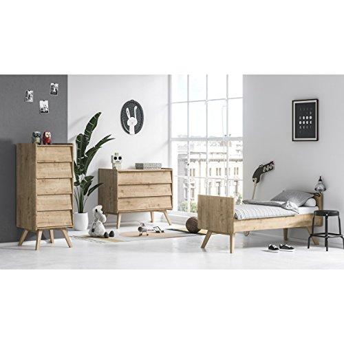 Chambre complète lit évolutif 70x140 - commode à langer - chiffonnier Vintage - Bois