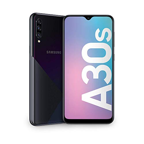 "Samsung Galaxy A30s Smartphone, Display 6.4"" Super AMOLED, 64 GB Espandibili, RAM 4 GB, Batteria 4000 mAh, 4G, Dual SIM, Android 9 Pie  [Versione Italiana], Black"